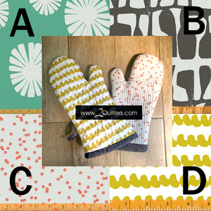 Oven Mitt Kit with fabric, batting and pattern