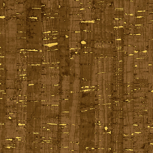 Uncorked Metallic, Chocolate Metallic Cork Print, Windham Fabrics, per half yard