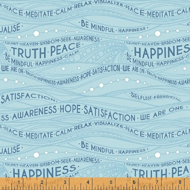 Be Mindful, Mindful in Blue, Windham Fabrics, per half yard