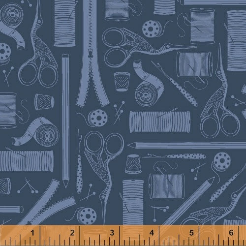 Crafters Gonna Craft, Tools - Navy, per half-yard