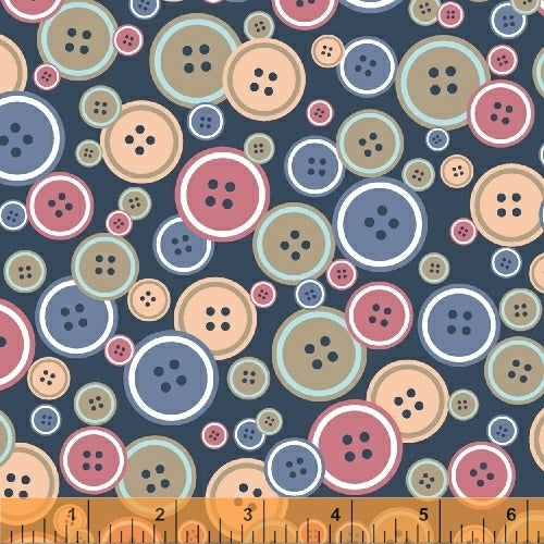 Crafters Gonna Craft, Buttons - Navy, per half-yard