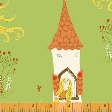 Load image into Gallery viewer, Far Far Away 2, Rapunzel in Green, by Heather Ross for Windham Fabrics, per half-yard