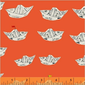 Far Far Away 2, Newspaper Boats in Red Orange, by Heather Ross for Windham Fabrics, per half-yard