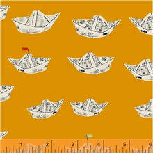 Load image into Gallery viewer, Far Far Away 2, Newspaper Boats in Orange, by Heather Ross for Windham Fabrics, per half-yard
