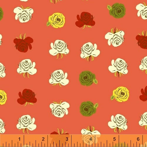 Far Far Away 2, Roses in Red Orange, by Heather Ross for Windham Fabrics, per half-yard