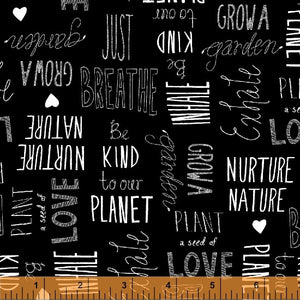 Love The Earth, Nature Lover in Black, Windham Fabrics, per half yard