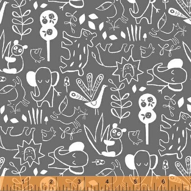 Dream, It's A Jungle Out There in Charcoal, Windham Fabrics, per half yard