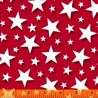 Pride and Honor, Big Stars in Red, Windham Fabrics, per half yard