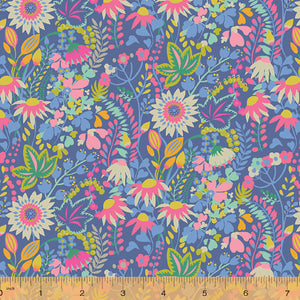 Solstice, Flower Bed - Blue by Sally Kelly, per half-yard