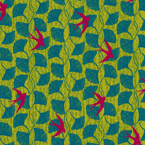 Norma Rose, Songbirds in Acid Green by Natalie Barnes, per half-yard