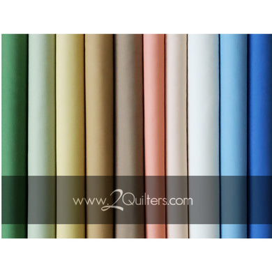 Kona Cotton: 2Quilters Meadow palette, 10 pcs (Mask Cut Bundle)