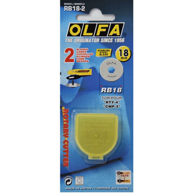 OLFA 18mm Tungsten Tool Steel Rotary Blade, Pack Of 2 (RB18-2)