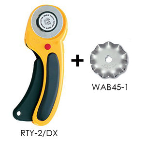 *Bundle Deal* OLFA 45mm Deluxe Rotary Cutter (RTY-2/DX) + Wave Blade (WAB45-1) Bundle