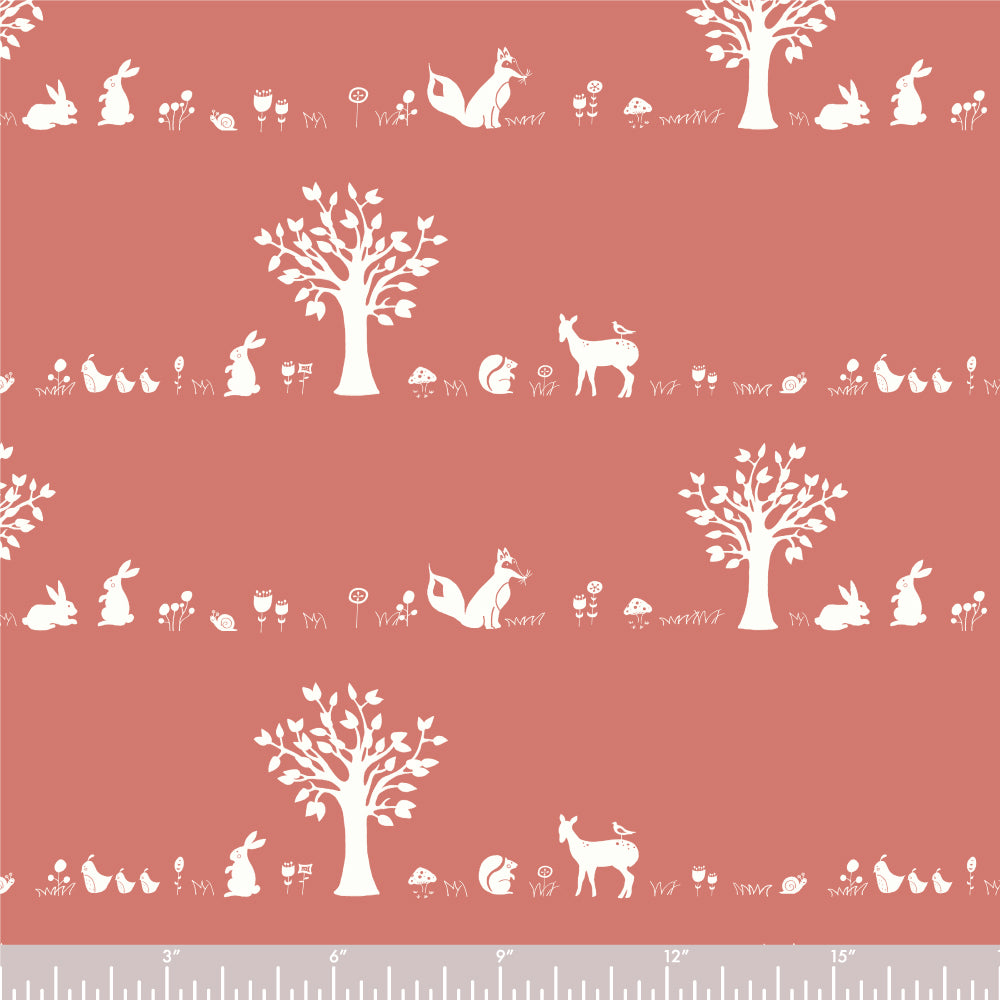 Storyboek Drie, Forest Friends Coral in Knit, per half-yard