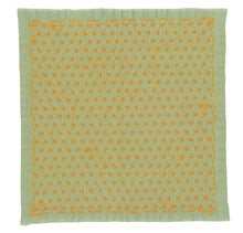 Load image into Gallery viewer, Olympus #SK-361 Japanese Sashiko Hitomezashi, Hana-Fukin Sashiko Sampler - Square Turtle Tie (Green)