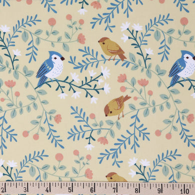 Best of Teagan White, Birds and Branches Cream, per half-yard