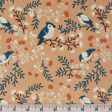 Best of Teagan White, Birds and Branches Coral, per half-yard