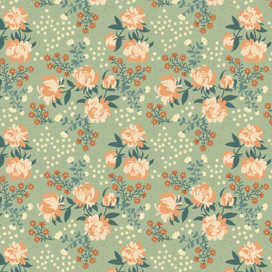 Best of Teagan White, Peonies Mint, per half-yard