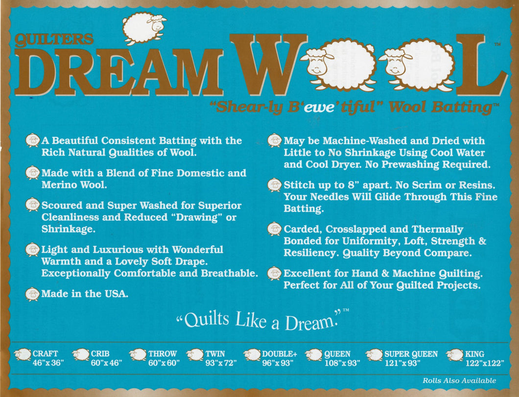 Quilters Dream Wool - Wool batting, 93
