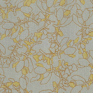 Collection CF, Flora in Shitake (Gold Metallic), per half-yard