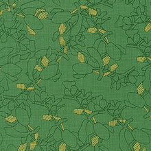 Load image into Gallery viewer, Collection CF, Flora in Moss (Gold Metallic), per half-yard