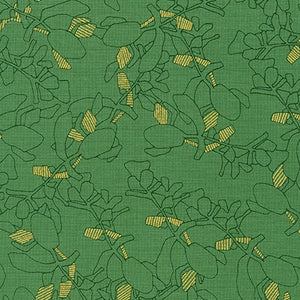 Collection CF, Flora in Moss (Gold Metallic), per half-yard