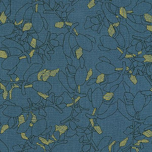Collection CF, Flora in Chalkboard (Gold Metallic), per half-yard