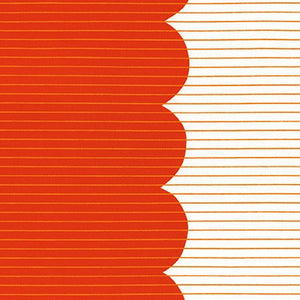 Harriot, Scallop Single Border in Tangerine, per half-yard
