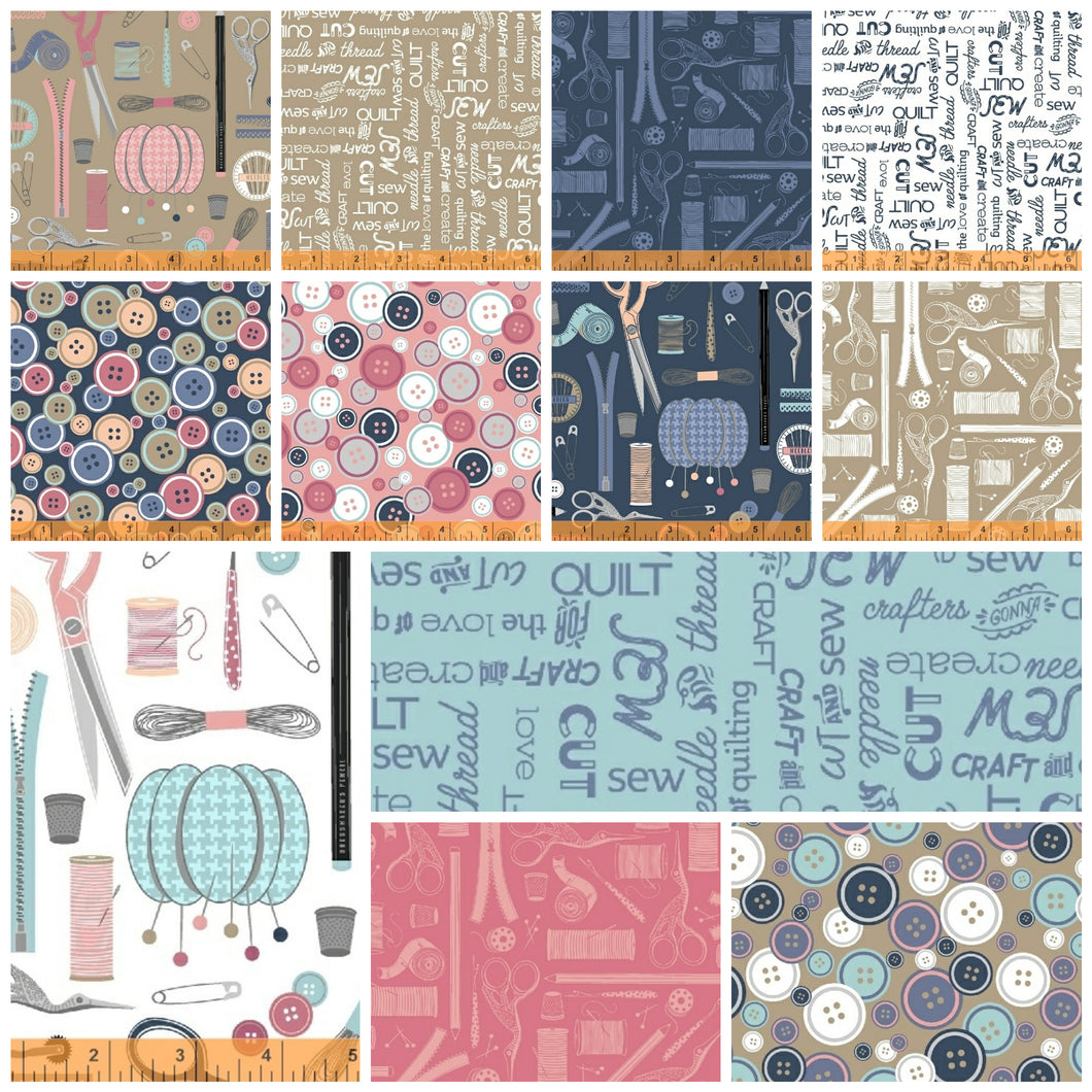 Crafters Gonna Craft by Whistler Studios, 12 prints Fat Quarter (Last Bundle)