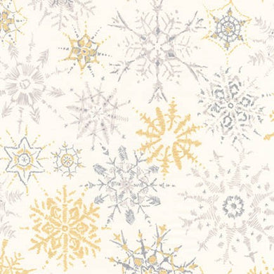 Winter Shimmer, White Snowflakes, per half-yard (with Metallic Accents)