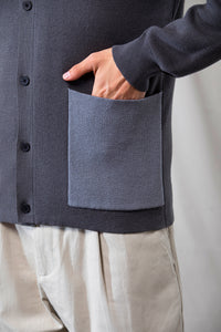Wool-Blend Two-tone Cardigan