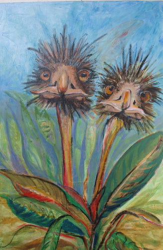 Abstract acrylic painting of emu heads as the  flowers of bird of paradise plant