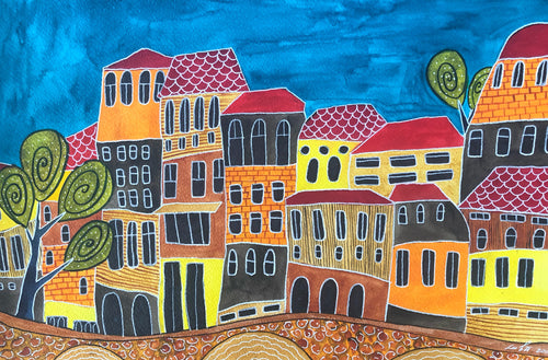 watercolour of colourful houses with blue sky by Luba Nikandrova