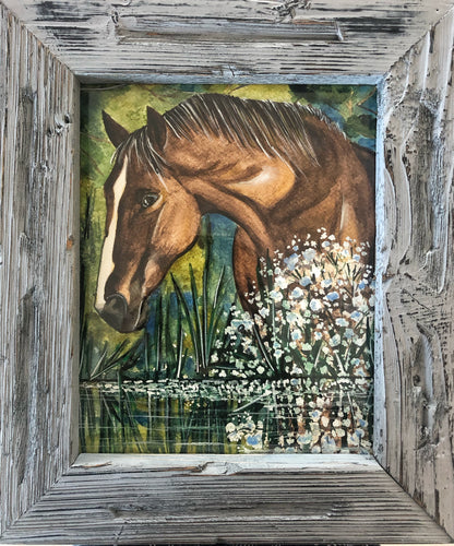 horse painting in watercolour in Rustic timber frame