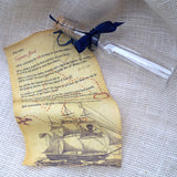 Pirate birthday scroll in a bottle invitation