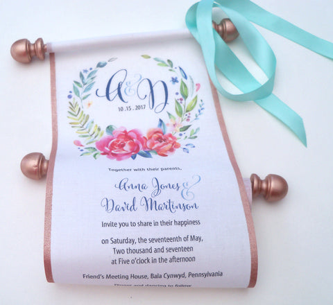 Scroll wedding invitations with watercolor roses and metallic rose gold accents, set of 10