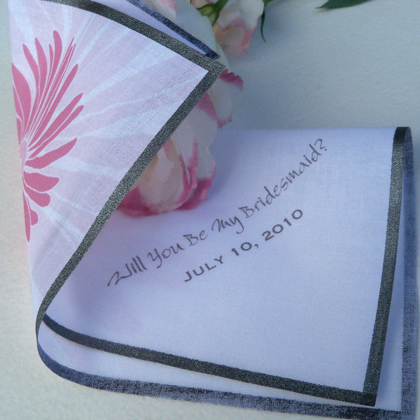 Will you be my bridesmaid daisy printed wedding handkerchief