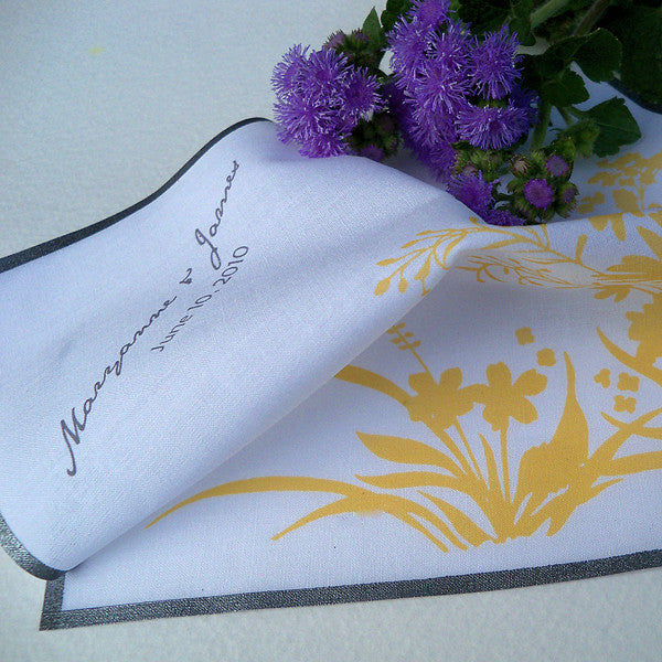 Personalized wedding handkerchief woodland meadow wild flowers