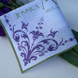 Wedding handkerchief with damask flower corners