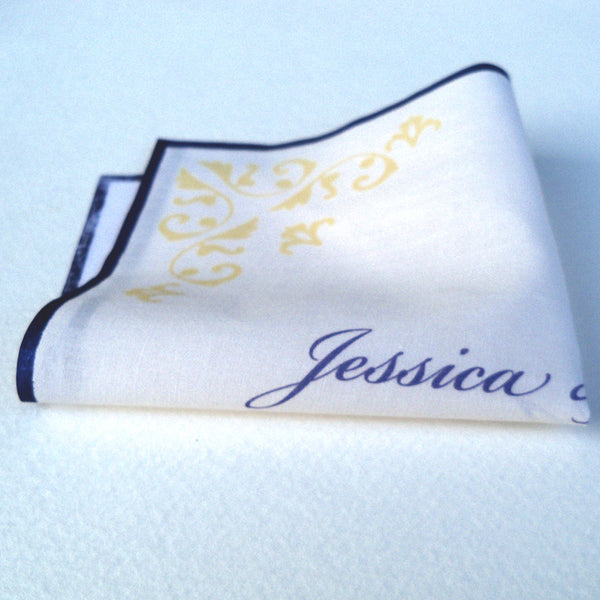 Personalized wedding handkerchief with damask corners