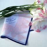 Printed lace personalized wedding handkerchief with custom text