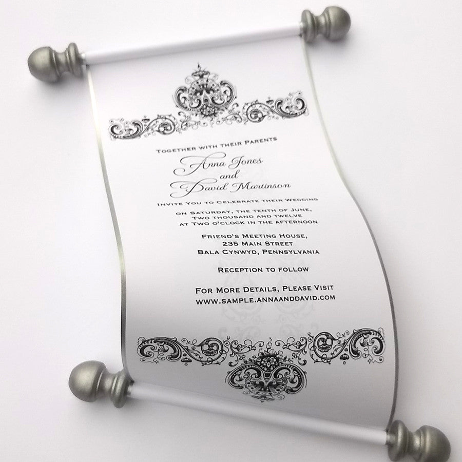 Black and white wedding invitation suite with scroll, in a box ...