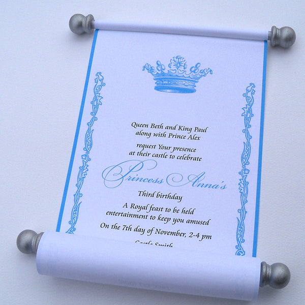 Royal princess birthday invitation scroll, silver and blue, set of 10