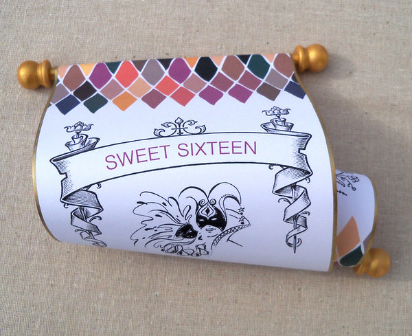 Sweet sixteen masquerade party invitation scrolls, set of 10