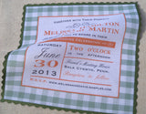 Gingham invitation handkerchiefs, set of 10