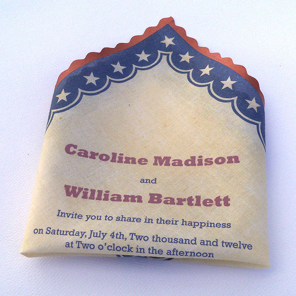 Americana 4th of July invitation handkerchief by Artful Beginnings