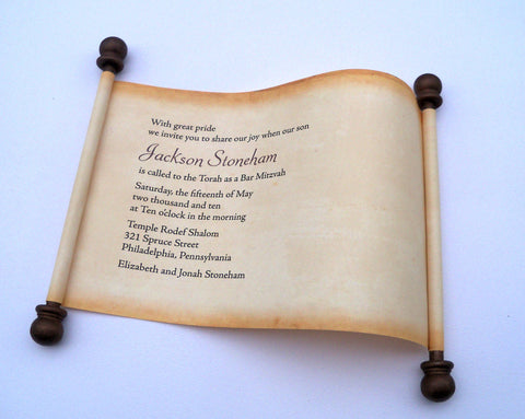 Bar Mitzvah invitation scroll on aged look paper, set of 5 scrolls