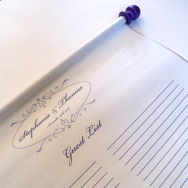 Guest list paper scroll with storage tube, 50-150 guests