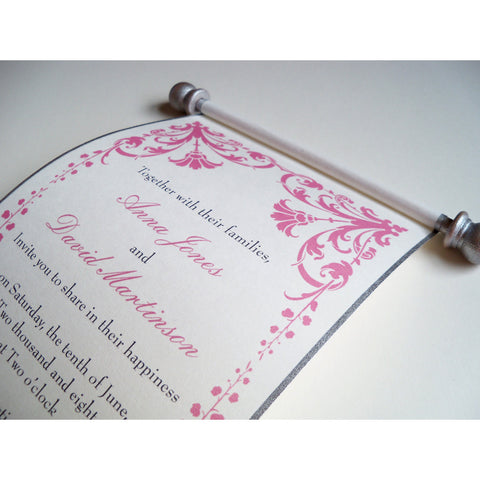 Damask flower wedding invitation scroll, set of 10