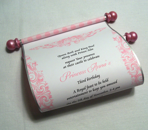 Princess Birthday Party Invitation Scroll in Pink, set of 10